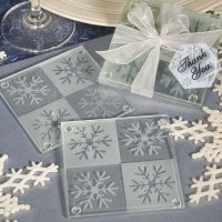 Lustrous snowflake glass coaster setLustrous snowflake glass coaster set
