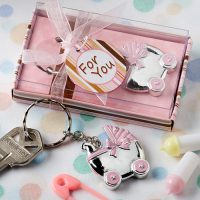 Pink baby carriage design key chainsPink baby carriage design key chains