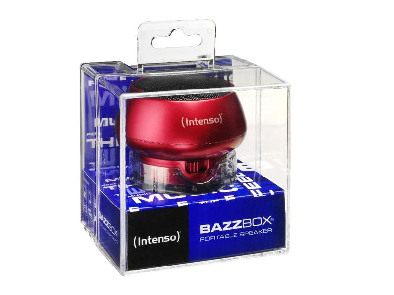 Untitled document             Product description :             Intenso Portable Speaker Bazzbox (red)                                                    Specifications :             1) Battery type: Rechargeable li-polymer battery 2) Battery life: max. 3 hours 3) Output Power: 3 W 4) Ports: Mini USB for charging | Integrated LINE In cable for external  MP3-/ MP4 player