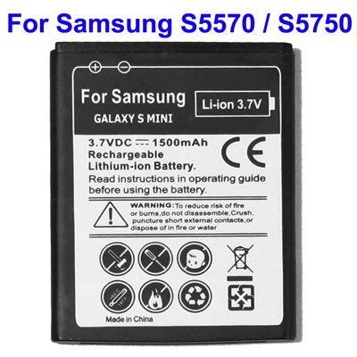 Untitled document 	   Χωρίς Συσκευασία (Bulk) Battery for Samsung S5570 / S5750 / S7230 / Galaxy S Mini (EB494353VU)Overview  	1) Samsung Standard Battery  2) Battery Type: Li-Polymer  3) Condition: Brand New  4) Voltages: 3.7V  5) Capacity: 1500mAh